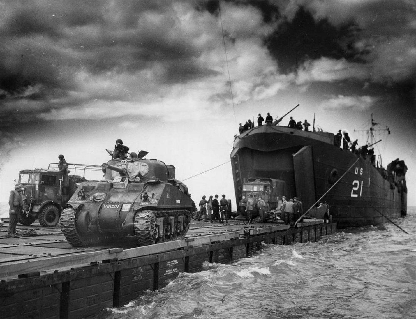 El desembarque de tanques