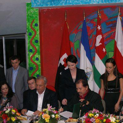 Президент Республики Никарагуа Даниэль Ортега, Президент Республики Абхазия Сергей Багапш и Президент Южной Осетии Эдуард Джабеевич Кокойты