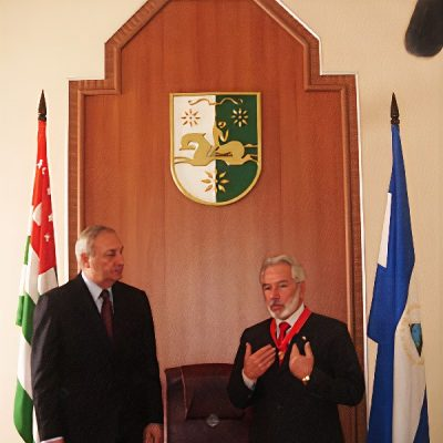 Президент Республики Абхазия Сергей Багапш, министр иностранных дел Никарагуа Самуэль Сантос Лопес
